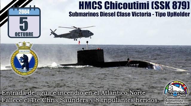 Incendio en el HMCS Chicoutimi  Submarino de Canadiense