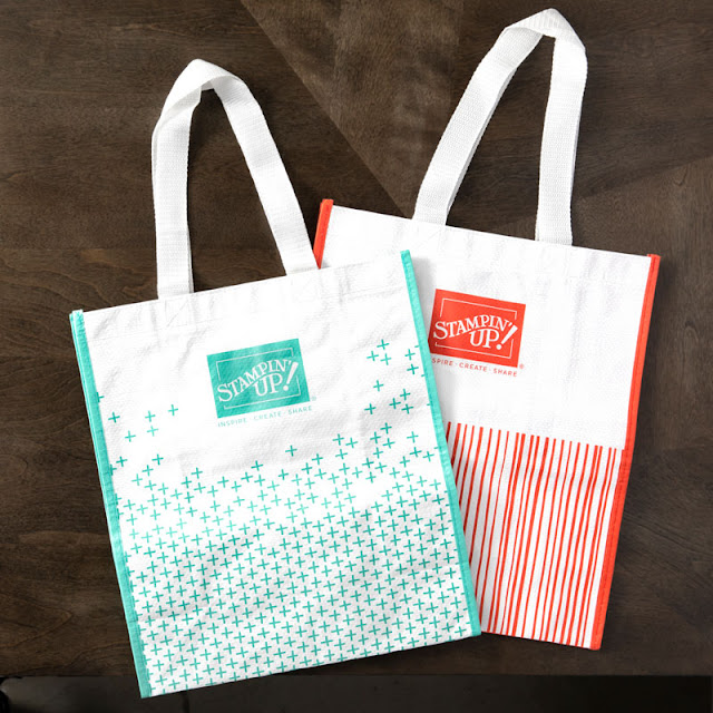 Stampin' Up! reusable shopping bags in Coastal Cabana and Calypso Coral - Shop with Nicole Steele
