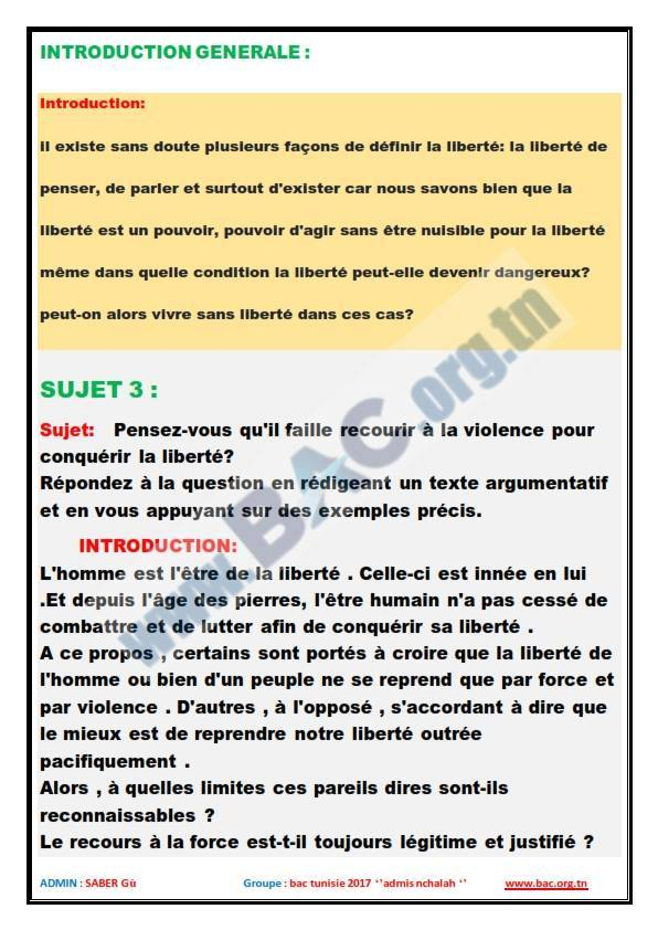 Resume Francais Bac Science Tunisie