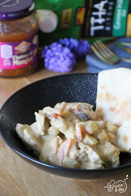 Dinde pommes de terre carottes Tomates séchées, Lait de Coco chutney Mangue recette asiatique indienne naan