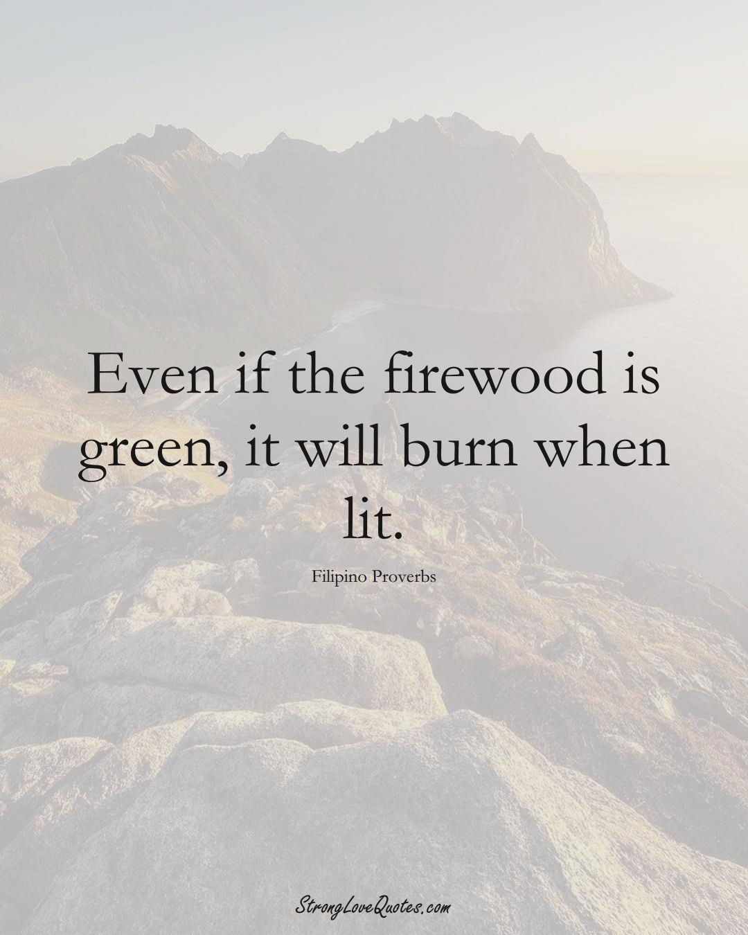 Even if the firewood is green, it will burn when lit. (Filipino Sayings);  #AsianSayings