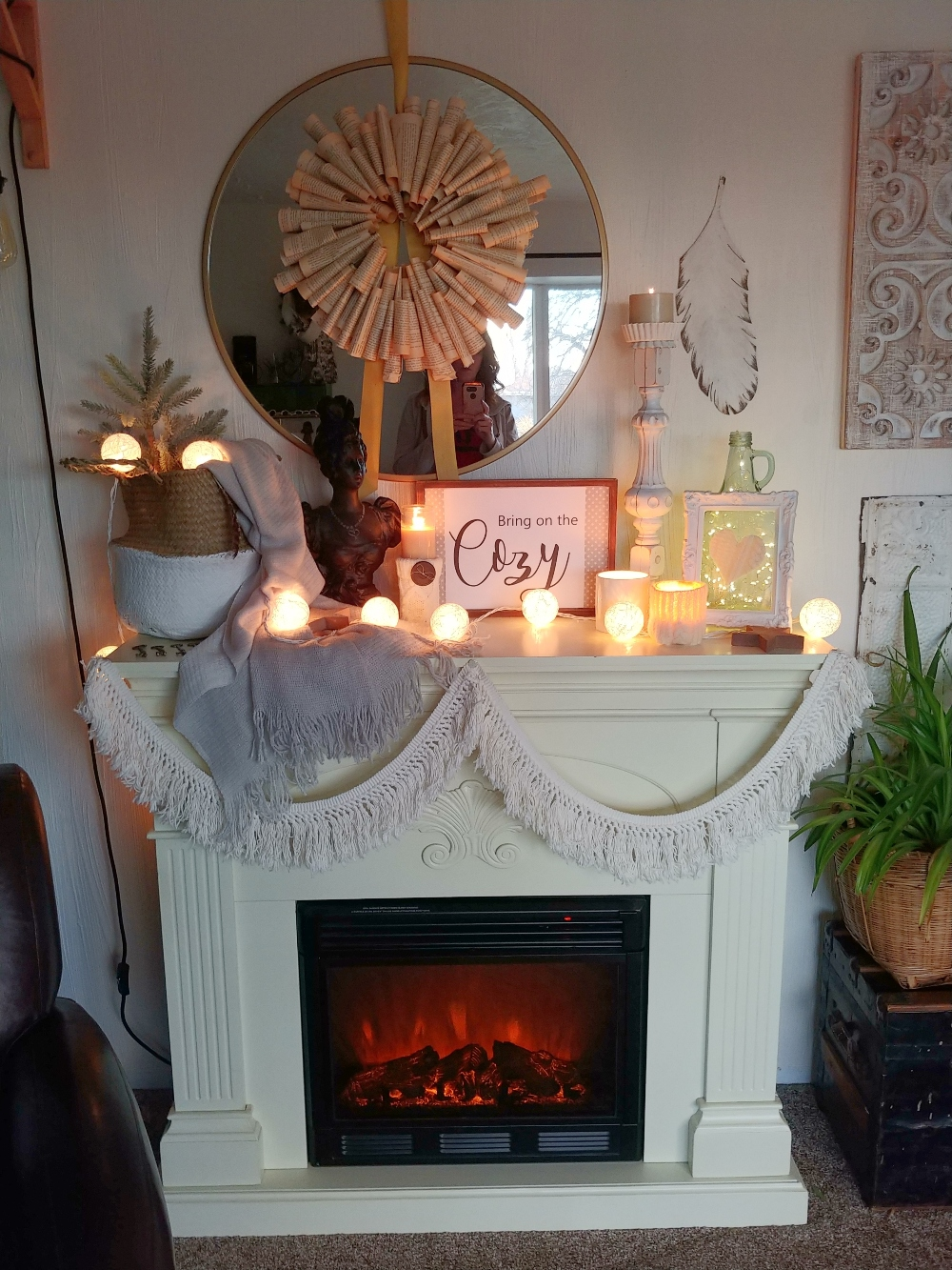 winter fireplace mantle