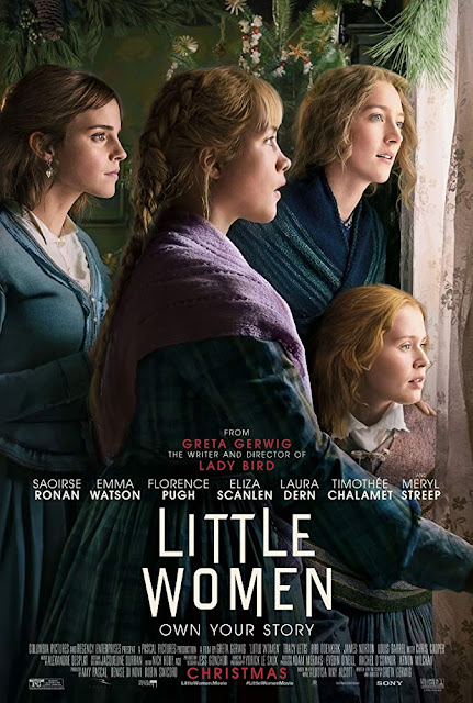 "Sony Pictures presents the movie poster for ""Little Women"" (2019), starring Saoirse Ronan, Emma Watson, Florence Pugh, Laura Dern, Meryl Streep, Timothée Chalamet, and Eliza Scanlen"