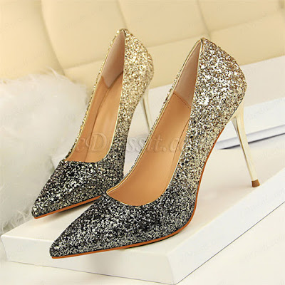 sparkling high heels shoes with glattering sequins