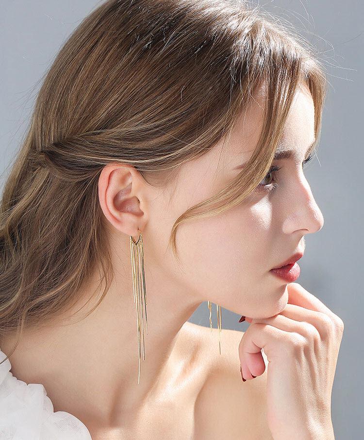 時尚風金屬流蘇耳環