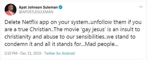 Gay Jesus Movie: Apostle Suleman Advises 'True Christian' To Delete Netflix App