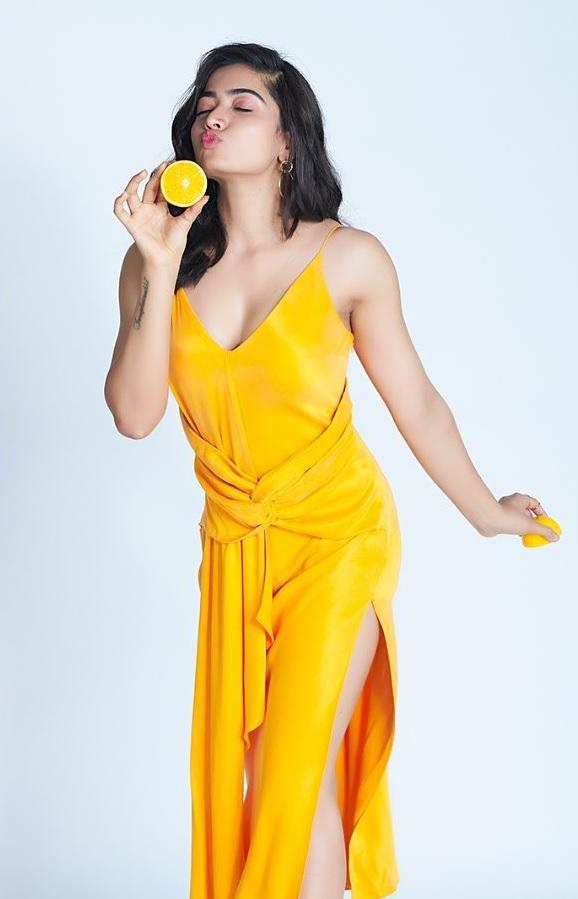 Rashmika Mandanna in Yellow with Wow Poses 1