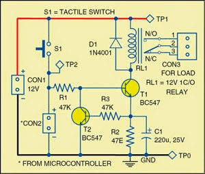 Simple Power-Saving Relay Driver Circuit Diagram