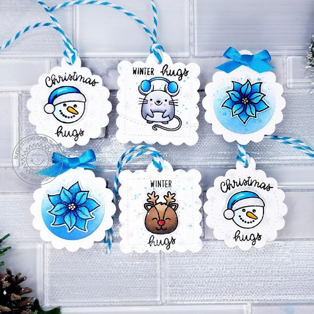 Sunny Studio Stamps: Scalloped Tag Dies Merry Mice Christmas Icons Christmas Gift Tags by Ana Anderson