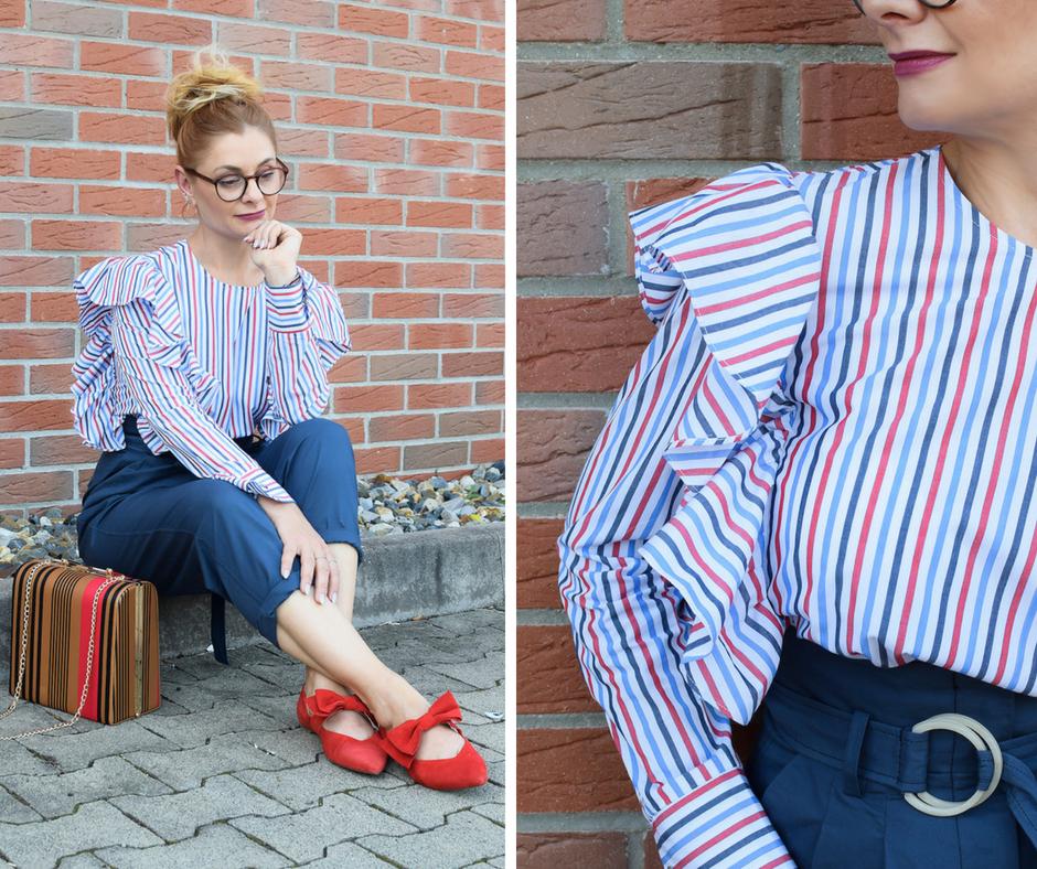 Schöner Look mit Paperbaghose und gestreifter Bluse