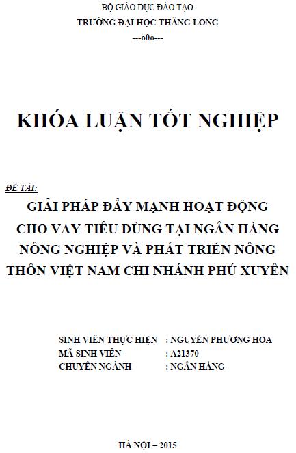 Giải pháp đẩy mạnh hoạt động cho vay tiêu dùng tại Ngân hàng Nông nghiệp và Phát triển Nông thôn Việt Nam Chi nhánh Phú Xuyên