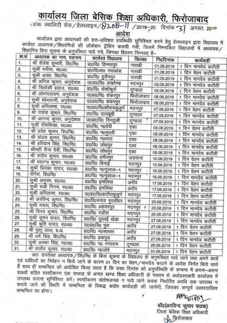 फिरोजाबाद - 31 शिक्षकों का कटा वेतन, स्कूल में इन शिक्षकों की नही मिली लोकेशन, bsa firozabad ने बिना पक्ष जाने आनन फानन में की कार्यवाही