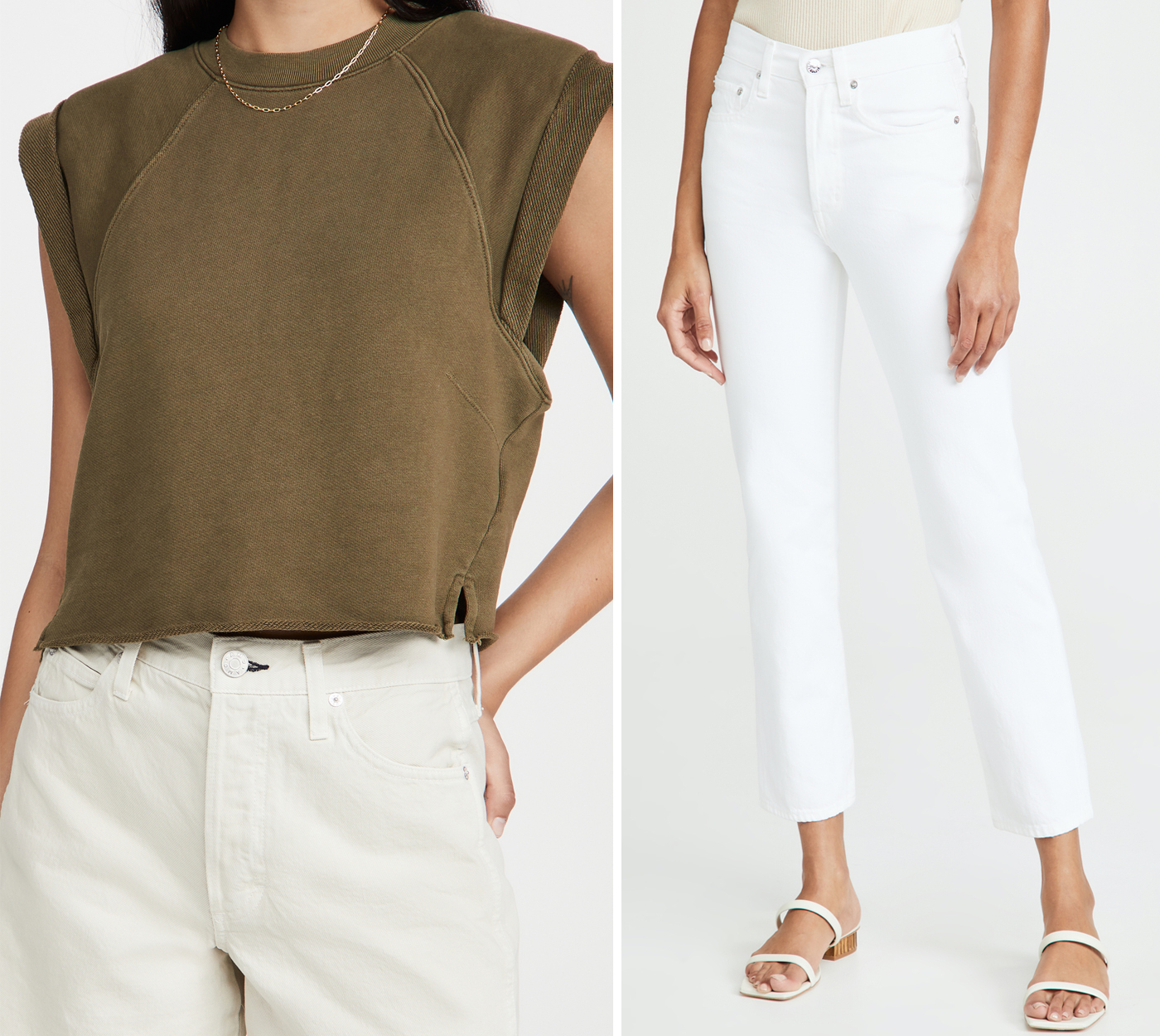 shopbop rolled sleeveless sweatshirt, white jeans