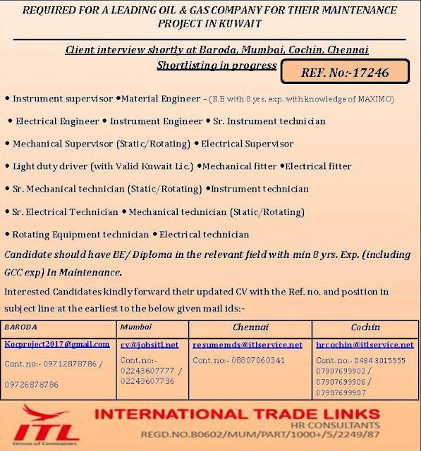 Oil & Gas Jobs in Kuwait | Interview at Baroda Mumbai Kochi and Chennai | International Trade Links