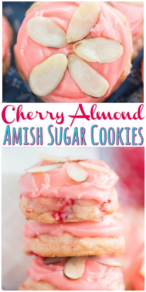 Cherry Almond Amish Sugar Cookies #cookiesrecipes