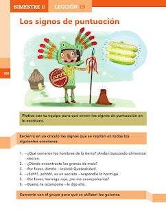 Apoyo Primaria Español 2do grado Bloque 2 lección 19 Los signos de puntuación