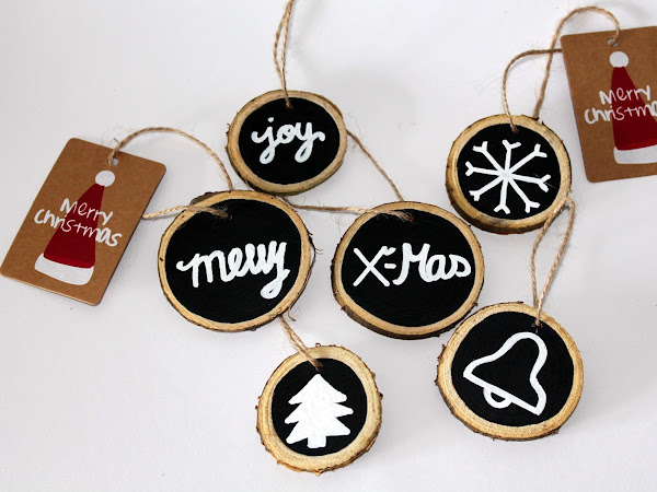 DIY Tafellack Astscheiben als Weihnachtsanhänger oder Christbaumanhänger