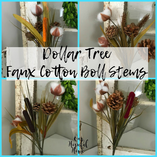 cotton boll cattail wheat pine cone faux flowers farmhouse decor