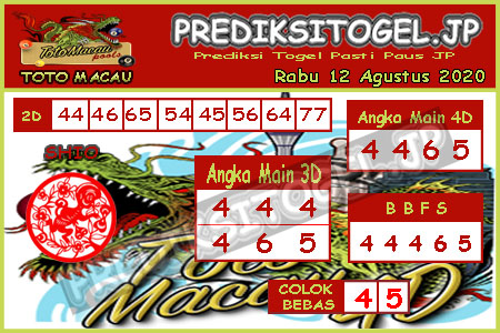Prediksi Togel Toto Macau JP Rabu 12 Agustus 2020