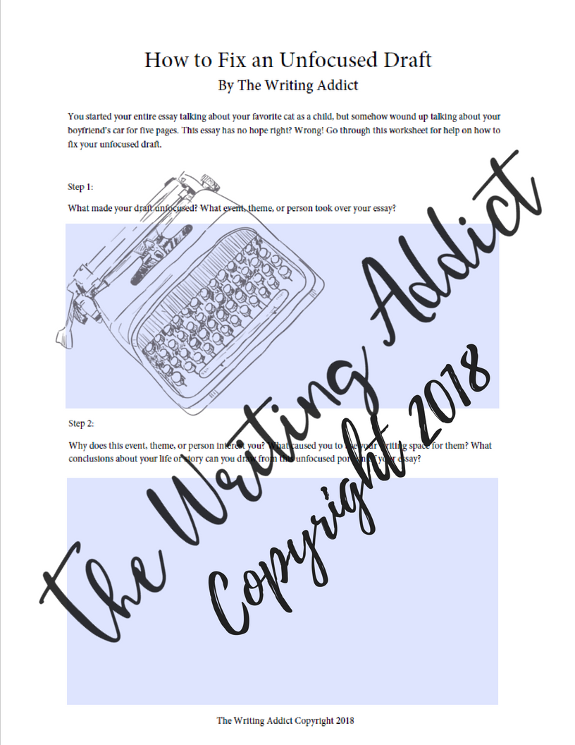 the writing addict how to fix an unfocused draft if you need help fixing your own draft check out this worksheet in my  resource library