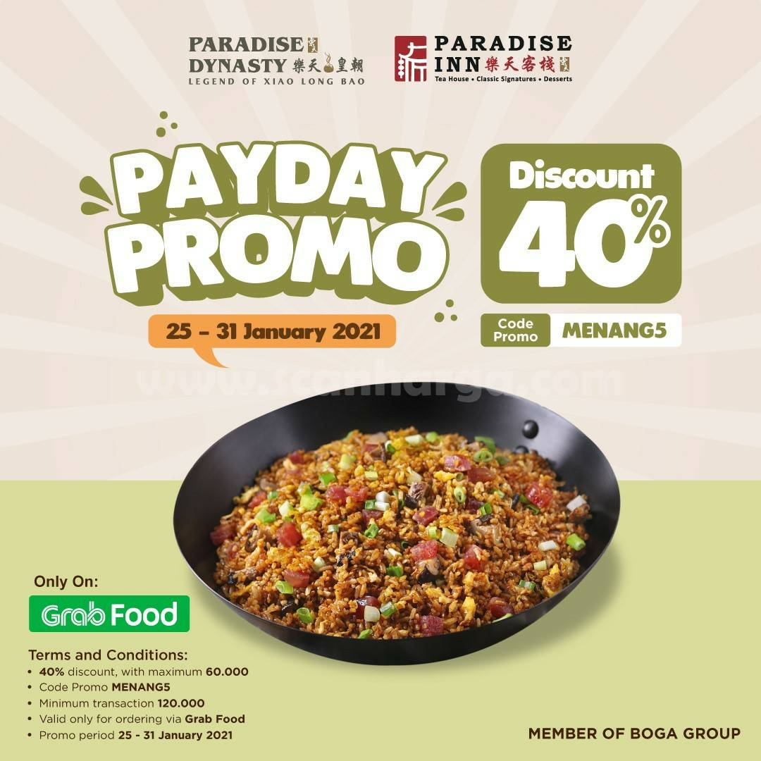 PARADISE GROUP Spesial Promo GRABFOOD PAYDAY DISKON 40%