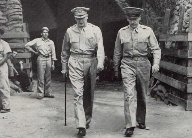 MacArthur and Sutherland on Corregidor worldwartwo.filminspector.com