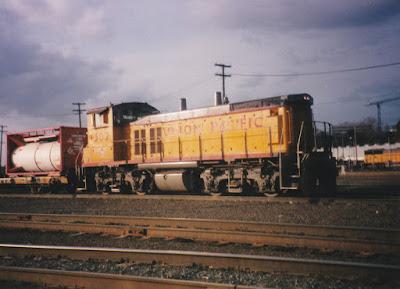 Union Pacific MP15DC #1302 at Albina Yard in Portland, Oregon, in March, 1997