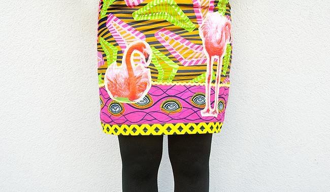 Diane Goldie, flamingo skirt, african print