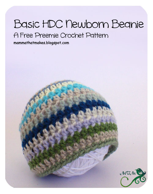 Mamma That Makes 7 Basic Newborn Hdc Beanie