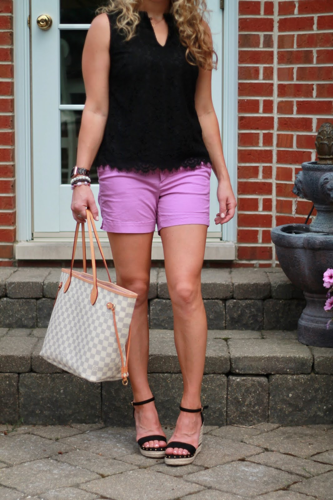 black lace blouse, purple chino shorts, black wedges, LV neverfull, colorful summer shorts outfit, dressy outfit with shorts