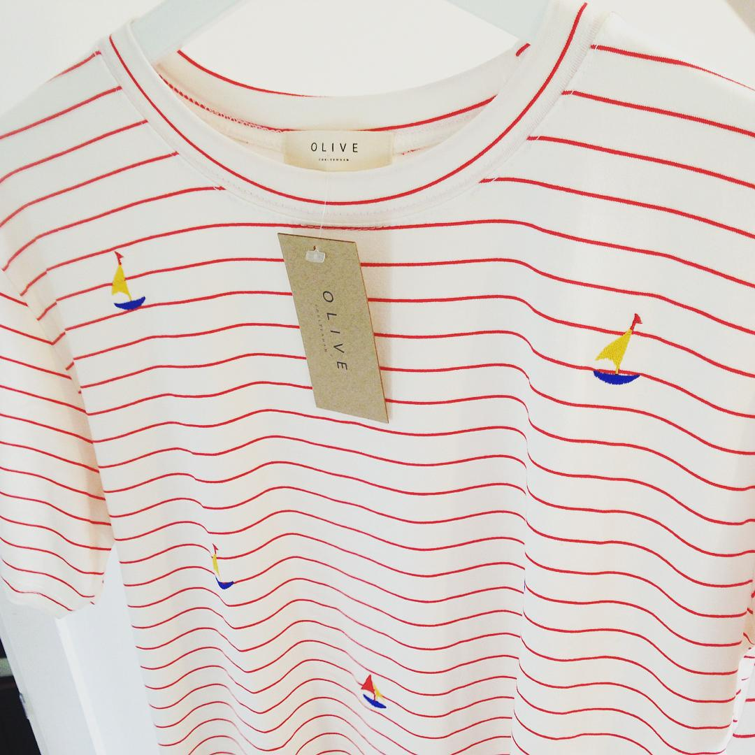 Olive clothing red striped sailboat tshirt