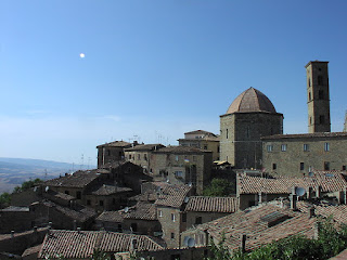 The historic walled town of Volterra southwest of Florence enjoys an elevated position