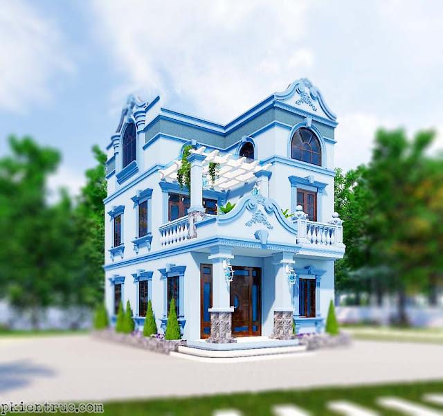 Phối cảnh render 3D revit mẫu nhà trang trí bằng phào chỉ chọn tông xanh