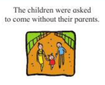 Change the meaning of the sentence by changing the preposition.  The children were asked to come without their parents.
