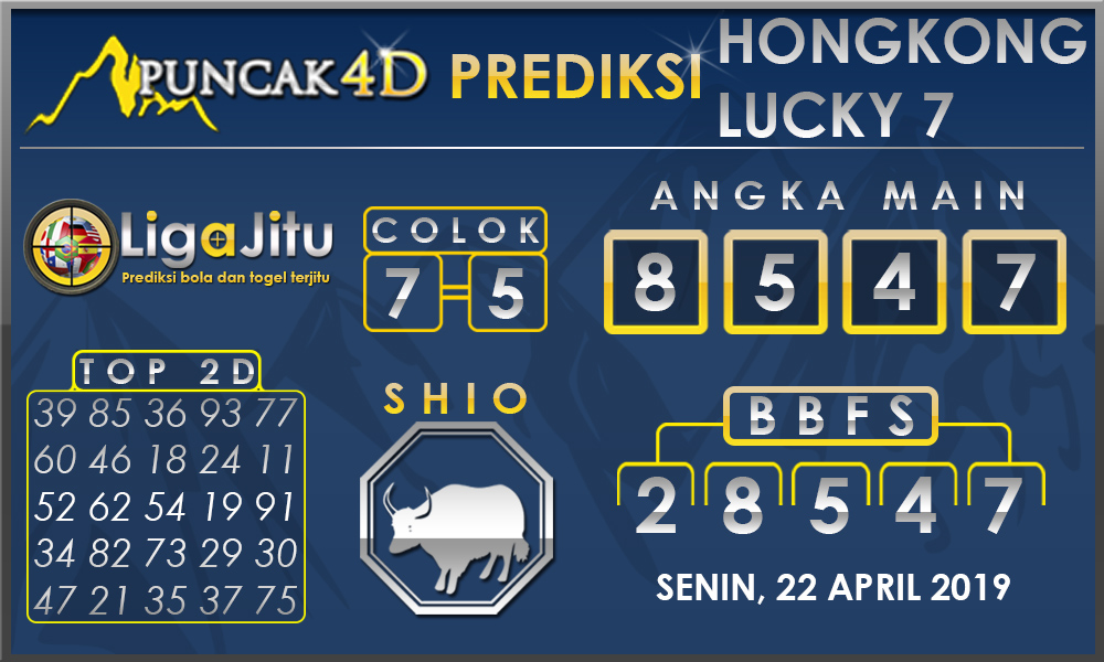 PREDIKSI TOGEL HONGKONG LUCKY7 PUNCAK4D 22 APRIL 2019