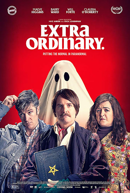 "Blinder Films and Wildcard Distribution presents ""Extra Ordinary"" (2019) movie poster, starring Maeve Higgins, Barry Ward, and Will Forte. #movies #moviereview"