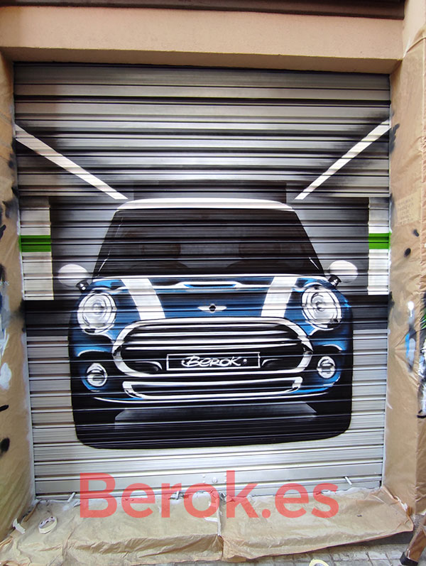 Graffiti coche Mini parking