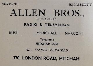 Allen Bros radio tv repairs advert 1952