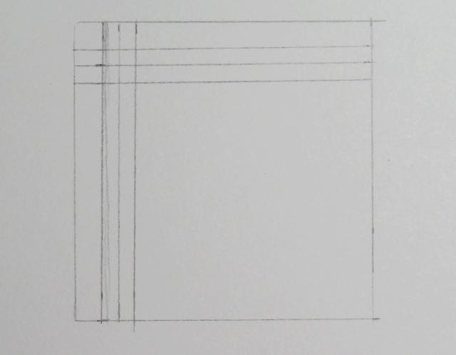 Dibujo de tres líneas horizontales dentro del cuadrado cruzándose con las verticales