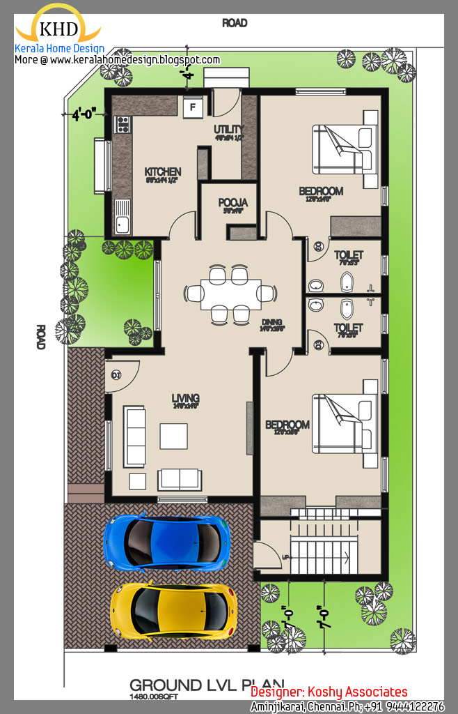 Single floor house plan and elevation 1480 sq ft for Home map design free layout plan in india