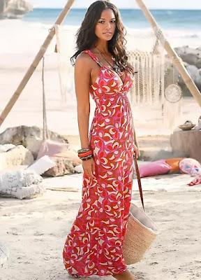 Red print Viscose Beach time maxi dress