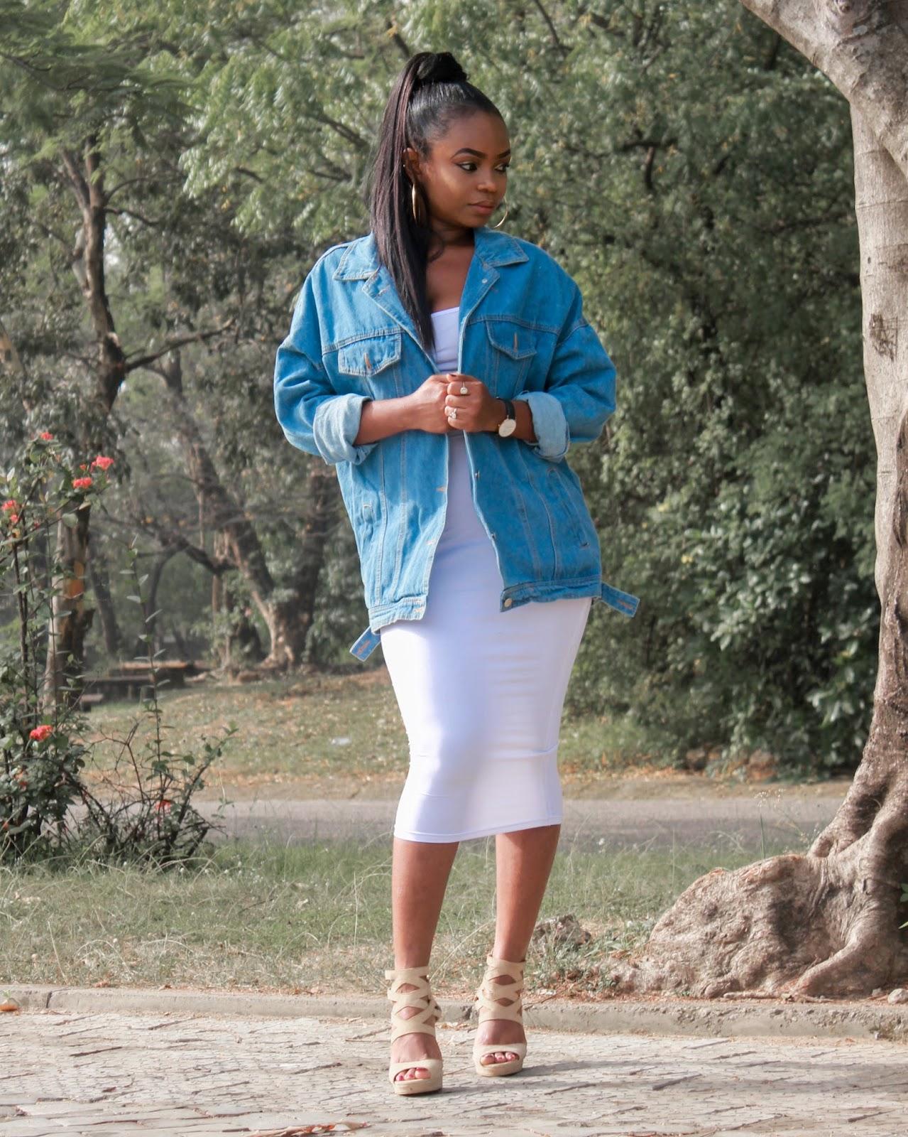 OVERSIZED DENIM JACKET - Romwe Oversized Denim Jacket with DressLily white bodycon