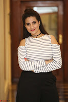Manjusha in sleevelss crop top and black skirt at Darshakudu pre release ~  Exclusive Celebrities Galleries 047.JPG