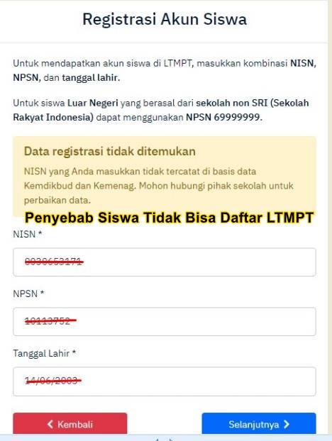 Penyebab Siswa Tidak Bisa Daftar LTMPT