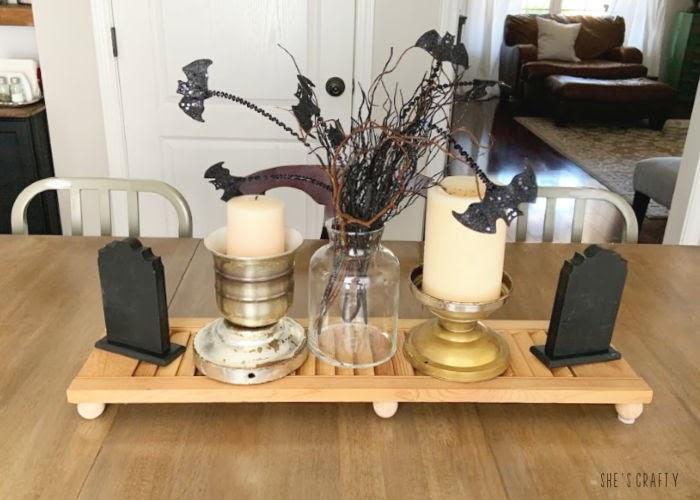 Halloween Home Tour - Halloween table centerpiece |  She's Crafty