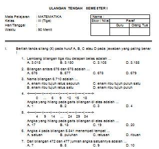 Download Contoh Soal UTS MATEMATIKA SD Kelas III Semester I Format Microsoft Word  Operator Sekolah