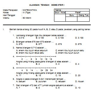 Download Contoh Soal UTS MATEMATIKA SD Kelas III Semester I Format Microsoft Word