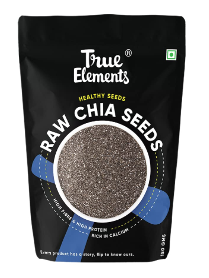 True Elements Chia Seeds 150g - Omega 3 and Fibre Rich Raw Chia Seed, Diet Food for Weight Loss, Healthy Snack