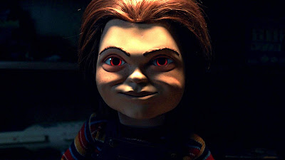 Chucky from Child's Play with glowing red eyes