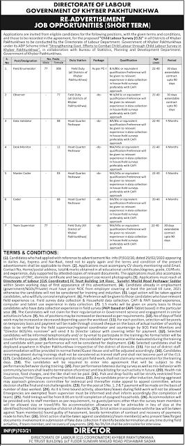 Directorate of Labour Jobs 2021 in Peshawar KPK
